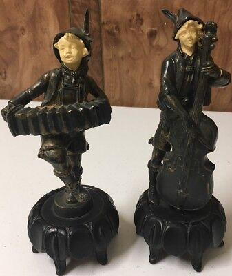 Antique Art Deco 1930 DAV ART The Fiddler and The Squeeze Box Spelter Figures