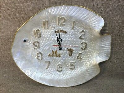 Phillipines Faux Mother Of Pearl Decorative Nautical Fish Clock Sovenir