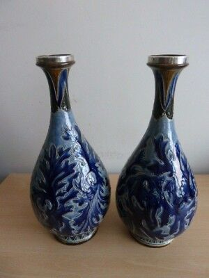 Stunning Pair Of Doulton Lambeth Stoneware Vases Must See