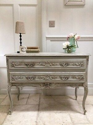 French  Louis XV Vintage Painted Grey Chest Of Drawers Console Side Table