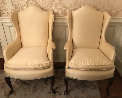 Pair KINDEL Wing Back Queen Anne Chairs