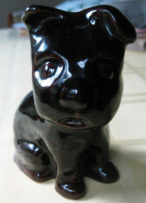 "Vtg Dog Puppy Figurine Monmouth Pottery Western Stoneware Gloss Brown 4 1/2"" 1"