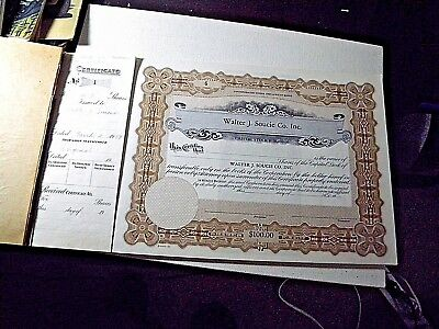 Book of Stock Certificates - Walter J Soucie Co Inc