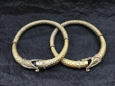 Two (2) Ancient Brass Bangle Bracelet Ouroboros – Dragon