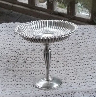 "NICE Vintage 6.25"" Sterling Silver Heavy Ribbed Compote Candy Dish Footed Signed"