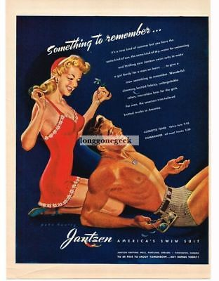 1943 Jantzen Swimwear Swimsuits art by Pete Hawley Vtg Print Ad