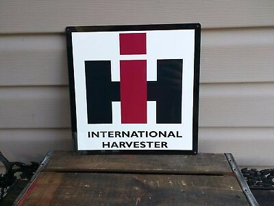 INTERNATIONAL HARVESTER METAL SIGN FARM BARN TRACTOR Repro 12x12 50101