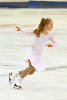 Bespoke Cara Couture White Ice Skating Dress with AB Crystals