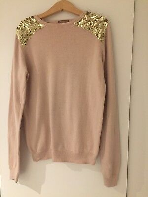 Ilovegorgeous- pale pink jumper decorated with golden sequin. size 12-13
