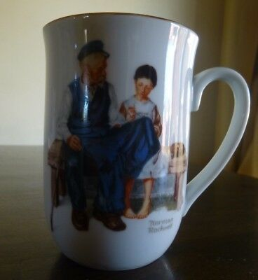 """Vintage 1982 NORMAN ROCKWELL 4"""" COFFEE CUP MUG The Lighthouse Keeper's Daughter"""