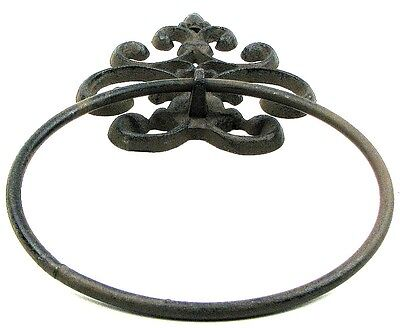 Rustic Antique Country French Cast Iron Fleur De Lis Rust Towel Ring Holder
