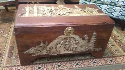 Antique Chinese Carved Chest Camphor Wood / J.L.George