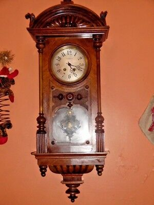 victorian wall clock by lenzkirch --stunning--