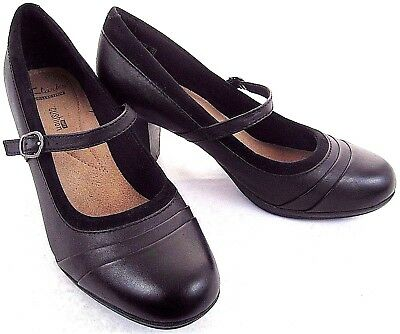 Clarks Collection Women's Mary Jane Pumps Block Heel Shoes Black Leather 8M