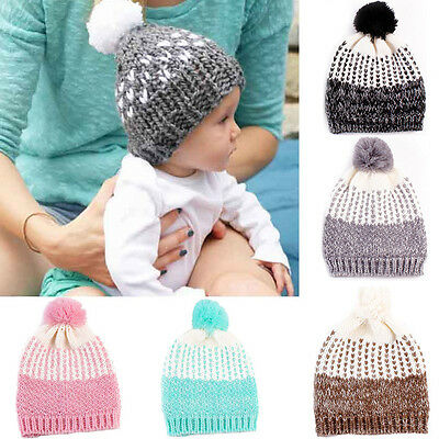 Toddler Kid Baby Boy Girl Winter Warm Beanie Hat Knit Fur Pom Bobble Crochet Cap