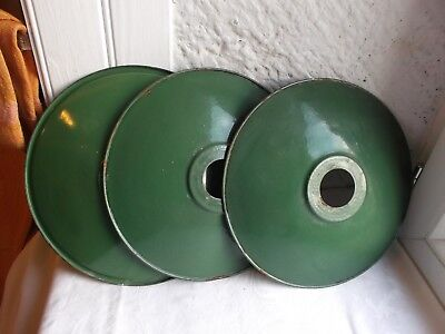 French c.1940 -50 porcelain enamel shades green set of 3 country /industrial