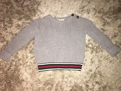 Baby Boys Grey Gucci Knitted Jumper Crew Neck 12-18 Months