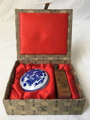 Vintage Chinese Cat Wax Seal Stamp Set Porcelain Fabric Box Carved Stone PETER