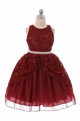 Burgundy Lace Tulle Flower Girls Dress Wedding Christmas Pageant Holidays 1711