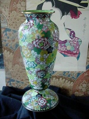 """ANTIQUE CHINESE CLOISONNE FOOTED VASE, Early 1900's Multi-Colored Floral 9.75"""""""