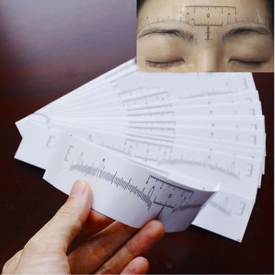 10pcs Disposable Eyebrow Ruler Stickers Tattoo Makeup Stencil Measure Shaper
