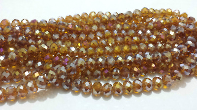 """6x8mm Champagne Crystal Faceted Abacus Gems Loose Beads 15"""""""