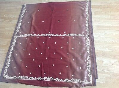 Indian Bollywood ladies rusty brown red embroidered saree brand new perfect con