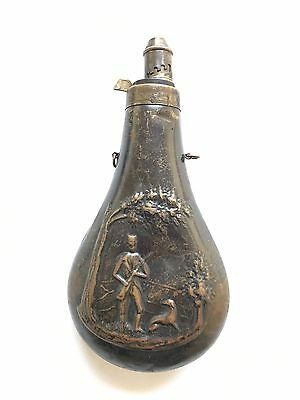 C. 19th Century Antique Copper Gun Powder Flask Embossed With Dog Hunting Scene