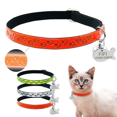 Paw Print Personalised Cat Collars & ID Tags & Bell for Kitten Puppy Fluorescent