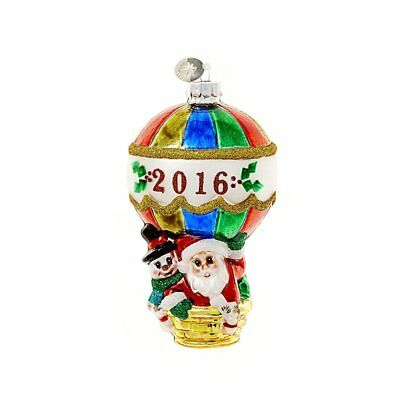 "Celebrations By Radko 5"" Glass Christmas Ornament - 2016 Santa in Hot Air"