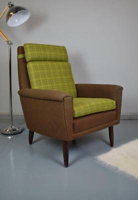 Mid Century Retro Danish Newly Upholstered Green Wool Lounge Arm Chair 1960s 70s