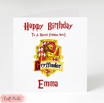 Harry Potter Gryffindor Personalised Birthday Card Add Name, Age & Relation