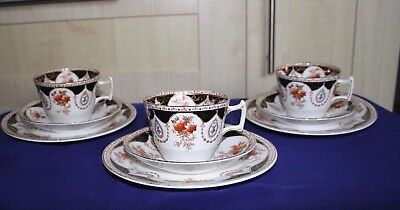 STRIKING VINTAGE MELBA BONE CHINA CUPS, SAUCERS and TEA PLATES x 3