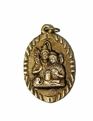 A Lovely Brass Pendant  Amulet LORD SHIVA PARVATI for good luck from India RARE