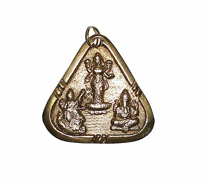 A Beautiful Brass Amulet Deity Lakshmi Ganesha Saraswati Pendant for good luck