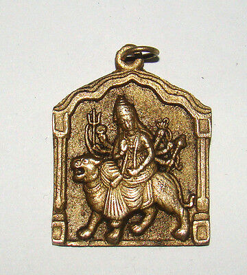 Attractive Brass made Good Luck Charm Hindu Deity Durga Pendant / Amulet India