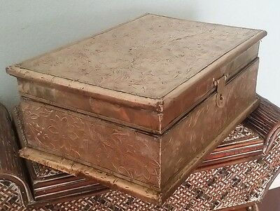 Lg. Antique Victorian Ornate Brass Jewelry Letter Document Storage Candle Box