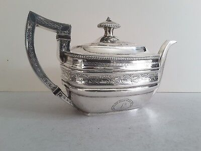 Georgian Scottish Antique Solid Silver Engrabed Tea Pot.  645Gms.    Edin.1806.