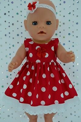 """Play n Wear Doll Clothes To Fit 17"""" Baby Born RED POLKA DOT DRESS~HEADBAND"""