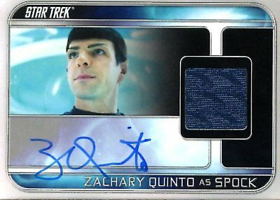 Star Trek Beyond COSTUME RELIC AUTOGRAPH card ZACHARY QUINTO as SPOCK 130/255