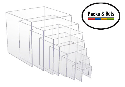 "Clear Acrylic Square Platform Risers Variety Sets & Packs 2"" to 8"" inch sizes"
