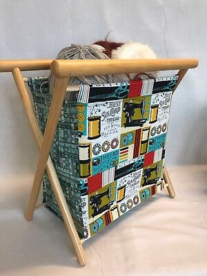 Knit Frame Knitting Tidy Sewing Basket - Blue & Red Sewing Tape Measure Design