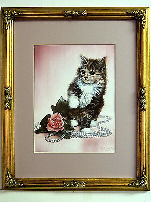 Kitty Cat Picture Kitten Pink Rose Pearls Matted Framed 11X14