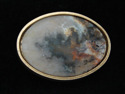 Ql07131 *nos* Vintage 1991 **multi-Color Agate Stone** Solid Brass Bts Buckle