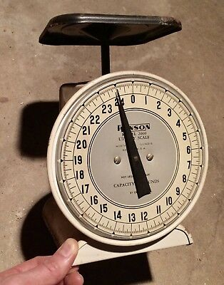 Vtg Scale Hanson Usa Counter Utility Scale Model 2000 25 Lb Black Tray