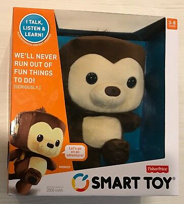 Fisher-Price Smart Toy Plush Monkey By Mattel ~ Interactive Toy