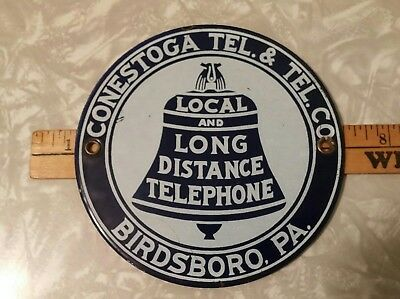 Very RARE VINTAGE Small Town ILEC Telephone Company Metal Sign - Birdsboro
