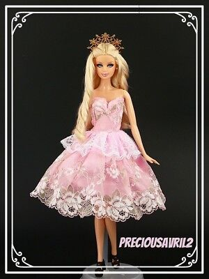 Barbie Doll Clothes Pink Party Dress Wedding Party Evening Dress/Clothes/Outfit