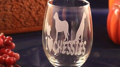 """Etched Wine Glass - """"I Love Chessies"""""""