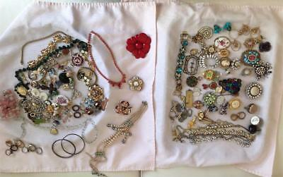 HUGE LOT of ANTIQUE & VINTAGE JEWELRY for Parts & Repair NECKLACES,BROOCH,ETC